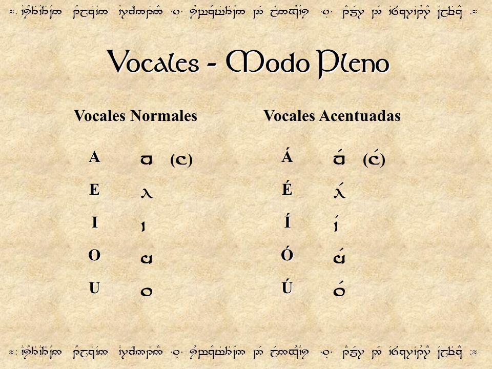 Vocales - Modo Pleno n (]) nR (]F) l lF ` `V h hF . .F
